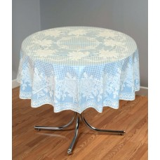 "54"" (Diameter) Rose Lace Vinyl Round Tablecloth (Blue)"