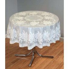"54"" (Diameter) Rose Lace Vinyl Round Tablecloth (Grey)"