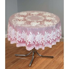 "54"" (Diameter) Rose Lace Vinyl Round Tablecloth (Maroon)"
