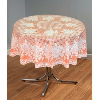 "54"" (Diameter) Rose Lace Vinyl Round Tablecloth (Orange)"