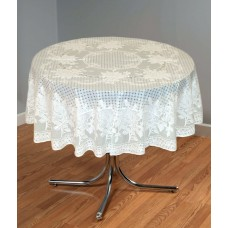 "54"" (Diameter) Rose Lace Vinyl Round Tablecloth (Pista Green)"
