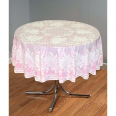 "54"" (Diameter) Rose Lace Vinyl Tablecloth (Pink)"