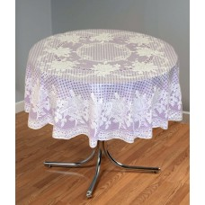 "54"" (Diameter) Rose Lace Vinyl Round Tablecloth (Violet)"