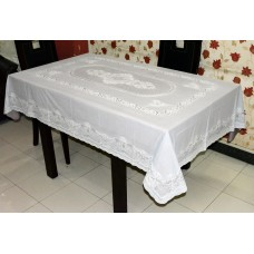"54"" x 76"" Lacecraft Lace Vinyl Dining Tablecloth (Brown)"