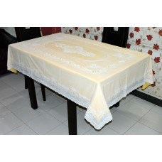 "54"" x 76"" Lacecraft Lace Vinyl Dining Tablecloth (Gold)"