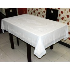 "54"" x 76"" Lacecraft Lace Vinyl Dining Tablecloth (White)"