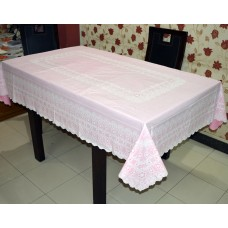"54"" x 78"" Anokha  Lace Vinyl Dining Tablecloth (Pink)"