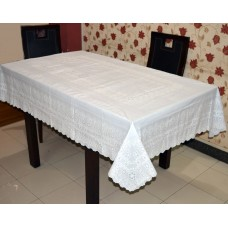 "54"" x 78"" Anokha  Lace Vinyl Dining Tablecloth (White)"