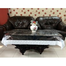 "40"" x 60"" Clear Transparent With Lace Center Table Cover"