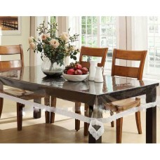"54"" x 78"" (Rectangle) Clear Transparent with Lace Border Dining Table Cover"