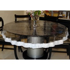 "60"" (Diameter) Clear Transparent with Lace Border Round Table Cover"