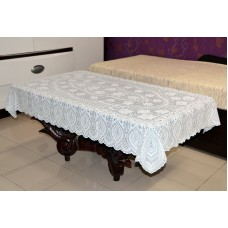 "36"" x 54"" Crosia Lace Vinyl Centre Tablecloth (White)"