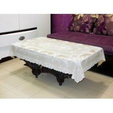 "36"" x 54"" Fancy Lace Vinyl Tablecloth (Beige)"
