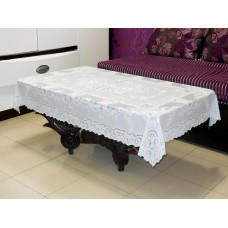 "36"" x 54"" Fancy Lace Vinyl Centre Tablecloth (White)"