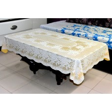 "36"" x 54"" Rose Lace Vinyl Tablecloth (Gold)"