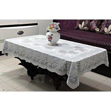 "36"" x 54"" Rose Lace Vinyl Tablecloth (Grey)"