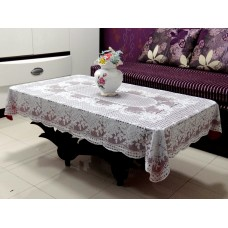 "36"" x 54"" Rose Lace Vinyl Tablecloth (Maroon)"