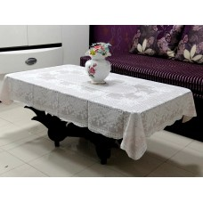 "36""x 54"" Rose Lace Vinyl Tablecloth (Peach)"