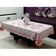 "36"" x 54"" Rose Lace Vinyl Tablecloth (Red)"