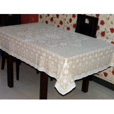 "52"" x 72"" Crosia Lace Vinyl Dining Tablecloth (Beige)"
