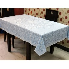 "52"" x 72"" Crosia Lace Vinyl Dining Tablecloth (Blue)"