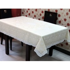 "52"" x 72"" Crosia Lace Vinyl Dining Tablecloth (Lemon)"
