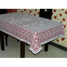 "52"" x 72"" Crosia Lace Vinyl Dining Tablecloth (Maroon)"