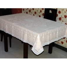 "52"" x 72"" Crosia Lace Vinyl Dining Tablecloth (Peach)"