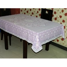 "52""x72"" Crosia Lace Vinyl Dining Tablecloth (Violet)"
