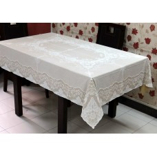 "54"" x 72"" Fancy Lace Vinyl Dining Tablecloth (Beige)"