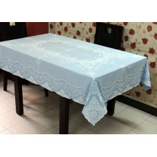 "54"" x 72"" Fancy Lace Vinyl Dining Tablecloth (Blue)"