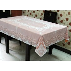 "54"" x 72"" Fancy Lace Vinyl Dining Tablecloth (Copper)"