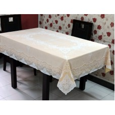 "54"" x 72"" Fancy Lace Vinyl Dining Tablecloth (Gold)"