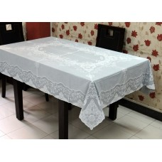"54"" x 72"" Fancy Lace Vinyl Dining Tablecloth (Grey)"