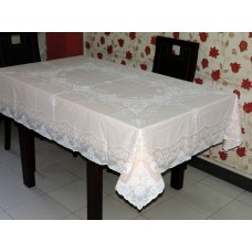 "54"" x 72"" Fancy Lace Vinyl Dining Tablecloth (Peach)"