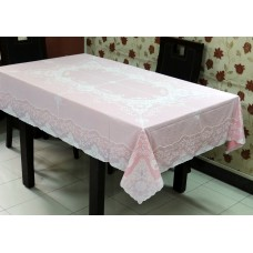 "54"" x 72"" Fancy Lace Vinyl Dining Tablecloth (Pink)"