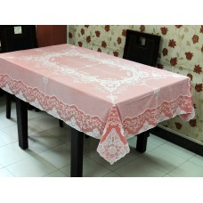 "54"" x 72"" Fancy Lace Vinyl Dining Tablecloth (Red)"