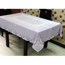 "54"" x 72"" Fancy Lace Vinyl Dining Tablecloth (Violet)"