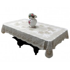 "36"" x 54"" Rose Lace Vinyl Tablecloth (Beige)"