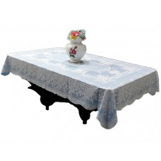 "36"" x 54"" Rose Lace Vinyl Tablecloth (Blue)"