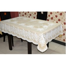 "54"" x 78"" (Rectangle) Rose  Lace Vinyl Dining Tablecloth (Beige)"