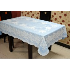 "54"" x 78"" (Rectangle) Rose  Lace Vinyl Dining Tablecloth (Blue)"