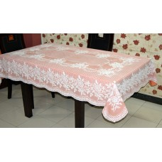 "54"" x 78"" (Rectangle) Rose Lace Vinyl Dining Tablecloth (Copper)"