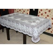 "54"" x 78"" (Rectangle) Rose  Lace Vinyl Dining Tablecloth (Brown)"