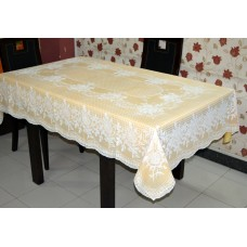 "54"" x 78"" (rectangle) Rose Lace Vinyl Dining Tablecloth (Gold)"