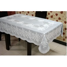 "54"" x 78"" (Rectangle) Rose Lace Vinyl Dining Tablecloth (Grey)"