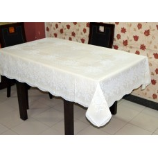 "54"" x 78"" (Rectangle) Rose Lace Vinyl Dining Tablecloth (Lemon)"