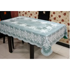 "54"" x 78"" (Rectangle) Rose  Lace Vinyl Dining Tablecloth (Dark Green)"