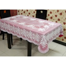 "54"" x 78"" (Rectangle) Rose Lace Vinyl Dining Tablecloth (Maroon)"