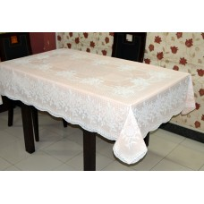 "54"" x 78"" (Rectangle) Rose Lace Vinyl Dining Tablecloth (Peach)"